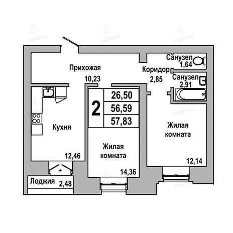 Вариант №1041, 2-комнатная квартира в жилом комплексе ГринАрт