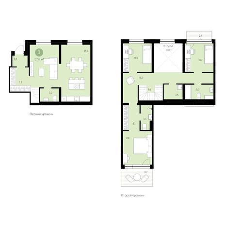 Вариант №4635, 4-комнатная квартира в жилом комплексе Европейский Берег