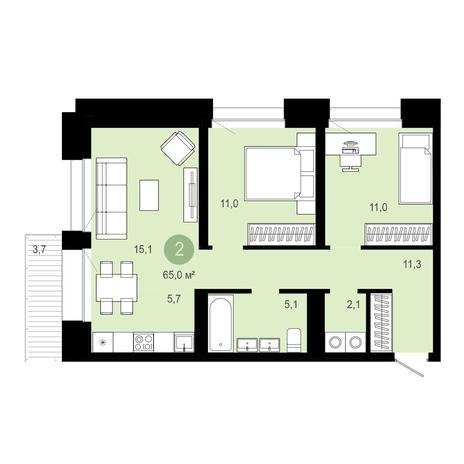 Вариант №4028, 3-комнатная квартира в жилом комплексе