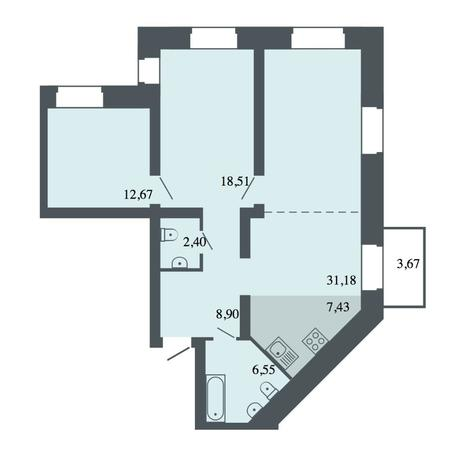 Вариант №4492, 4-комнатная квартира в жилом комплексе Спектр