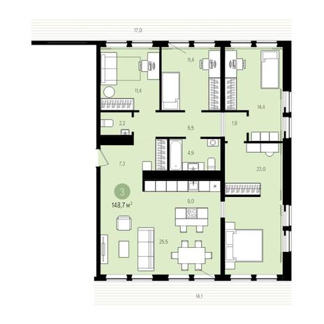 Вариант №5000, 5-комнатная квартира в жилом комплексе Пшеница