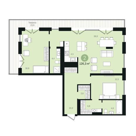 Вариант №6375, 3-комнатная квартира в жилом комплексе
