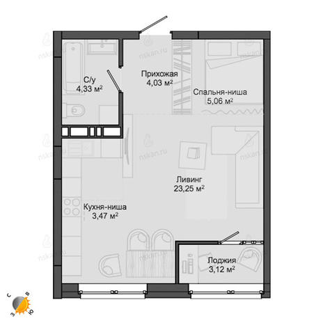 Вариант №2132, 1-комнатная квартира в жилом комплексе