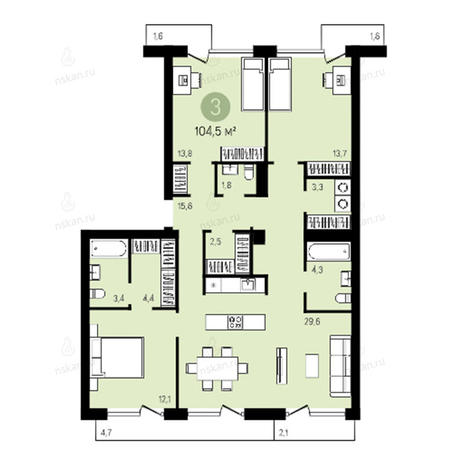 Вариант №2785, 4-комнатная квартира в жилом комплексе Европейский Берег