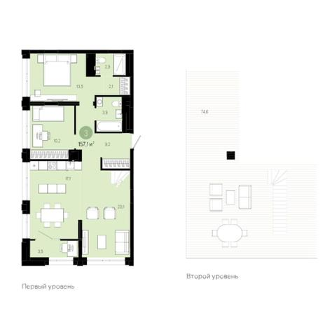 Вариант №6012, 3-комнатная квартира в жилом комплексе