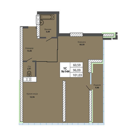 Вариант №2972, 3-комнатная квартира в жилом комплексе