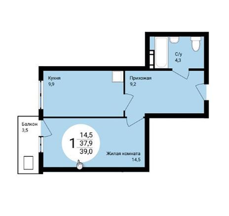 Вариант №4858, 1-комнатная квартира в жилом комплексе