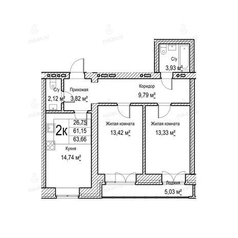 Вариант №1049, 2-комнатная квартира в жилом комплексе Потанинская 2