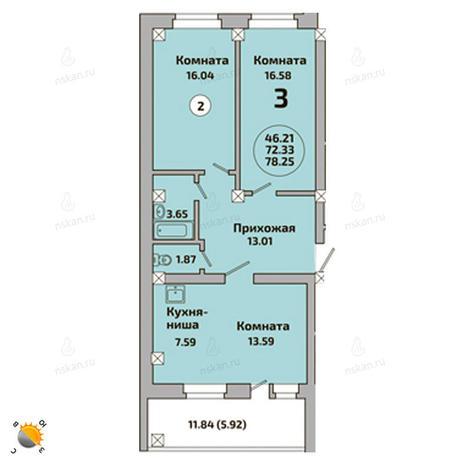 Вариант №2003, 3-комнатная квартира в жилом комплексе Родники