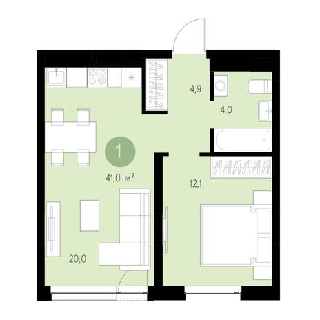 Вариант №4666, 2-комнатная квартира в жилом комплексе Ясный берег