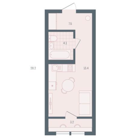 Вариант №5901, 1-комнатная квартира в жилом комплексе