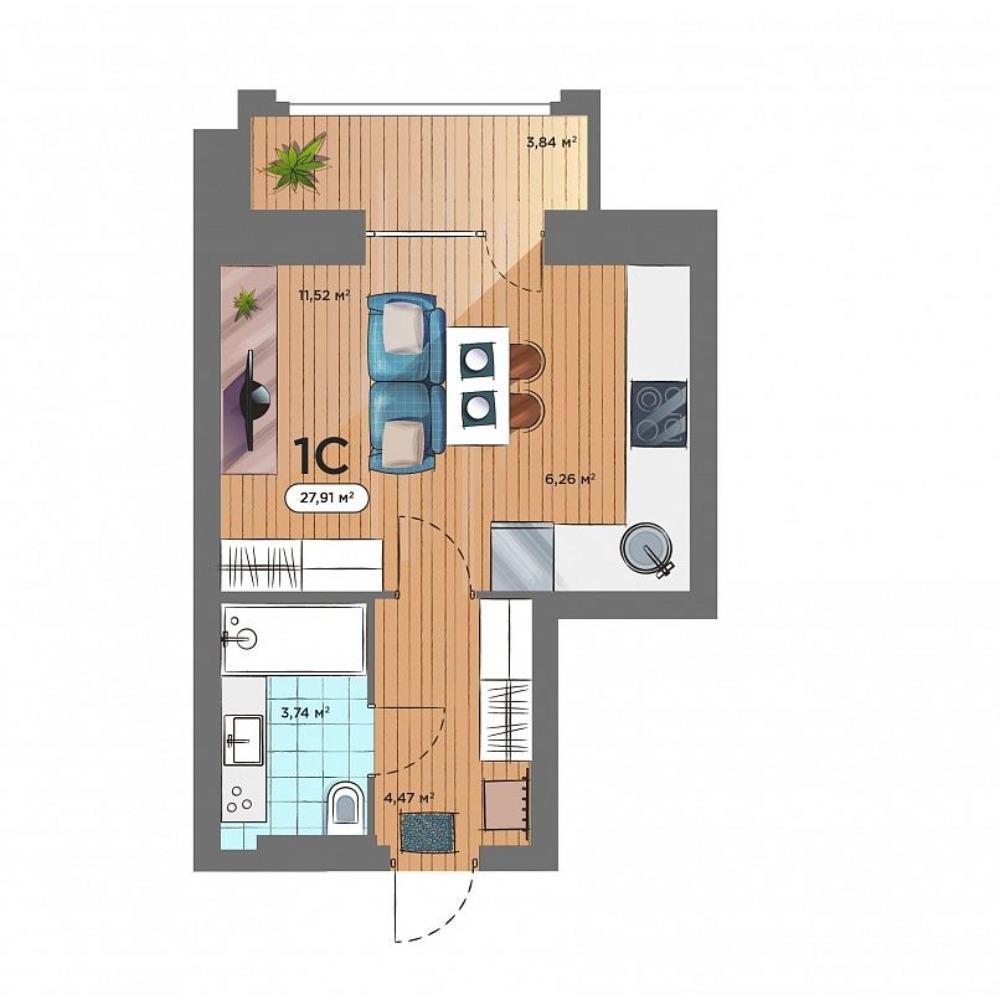 Планировка 1-комн. студия площадью 27.91 м<sup>2</sup> в ЖК Smart Avenue