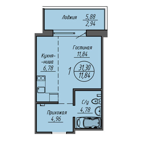 Вариант №3212, 1-комнатная квартира в жилом комплексе