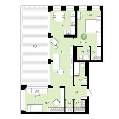 Вариант №4041, 4-комнатная квартира в жилом комплексе