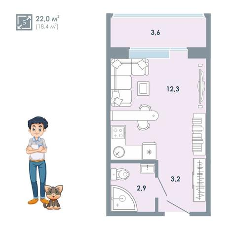 Вариант №5130, 1-комнатная квартира в жилом комплексе
