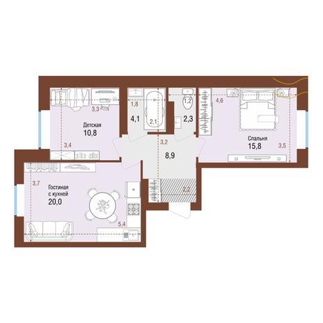 Вариант №4218, 3-комнатная квартира в жилом комплексе
