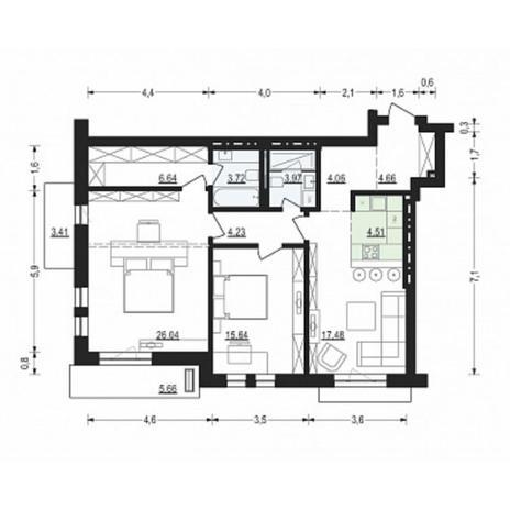 Вариант №4912, 3-комнатная квартира в жилом комплексе