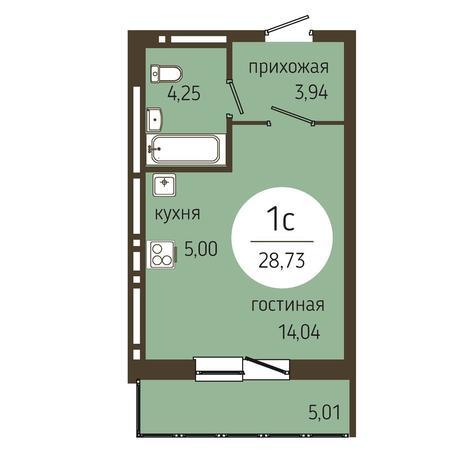 Вариант №4046, 1-комнатная квартира в жилом комплексе Оникс