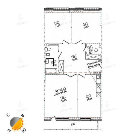Вариант №970, 4-комнатная квартира в жилом комплексе Римский квартал