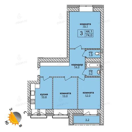 Вариант №1610, 3-комнатная квартира в жилом комплексе