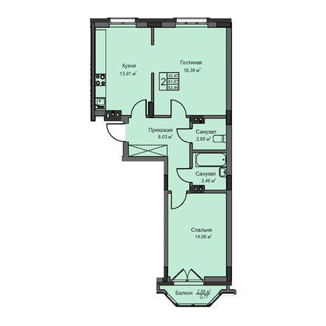 Вариант №3079, 2-комнатная квартира в жилом комплексе На Народной