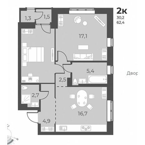Вариант №5820, 3-комнатная квартира в жилом комплексе Галактика