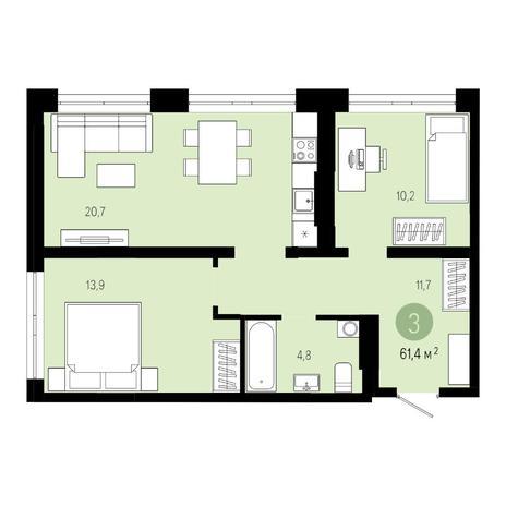 Вариант №4800, 3-комнатная квартира в жилом комплексе