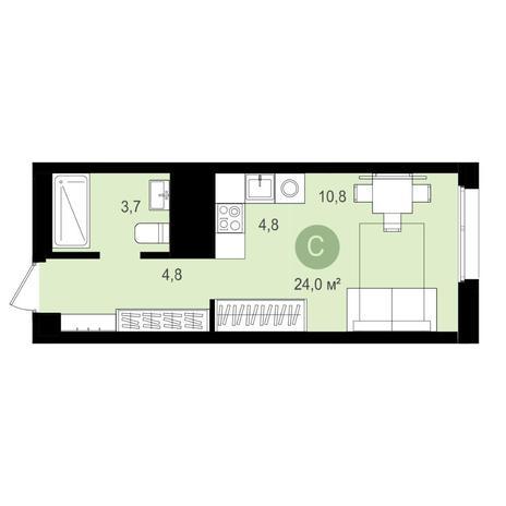 Вариант №4147, 1-комнатная квартира в жилом комплексе Акварельный 3.0
