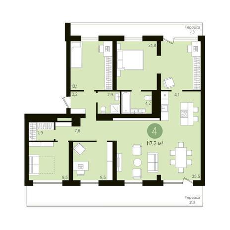 Вариант №3631, 4-комнатная квартира в жилом комплексе