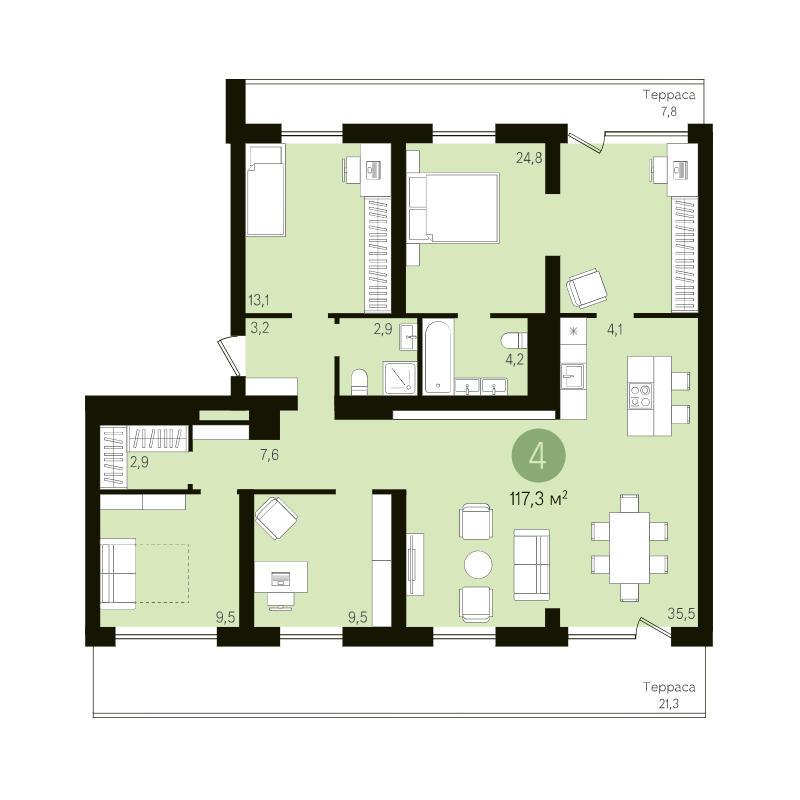 Планировка 4-комн. студия площадью 117.3 м<sup>2</sup> в ЖК Европейский Берег