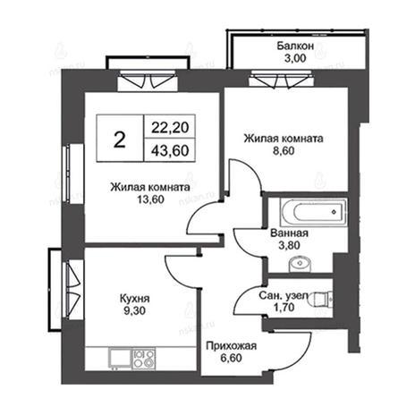 Вариант №2725, 2-комнатная квартира в жилом комплексе Чистая Слобода