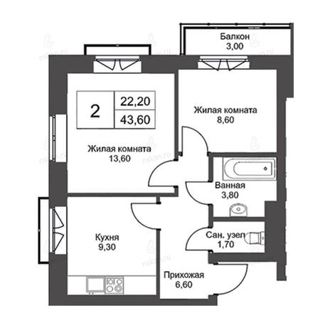 Вариант №2725, 2-комнатная квартира в жилом комплексе