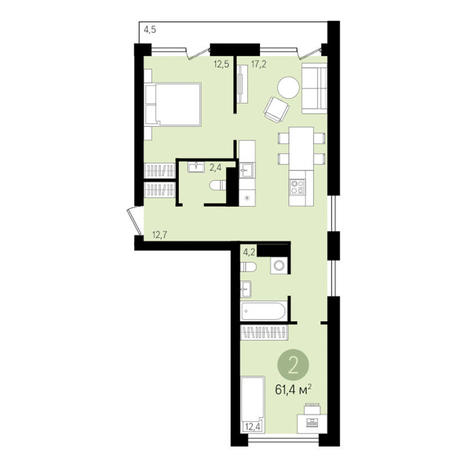 Вариант №3301, 2-комнатная квартира в жилом комплексе На Декабристов