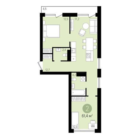 Вариант №3301, 2-комнатная квартира в жилом комплексе