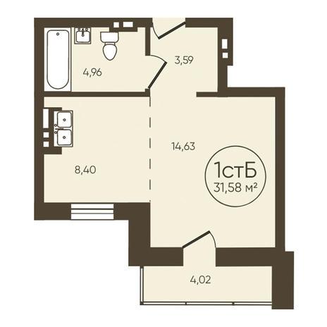 Вариант №3620, 1-комнатная квартира в жилом комплексе