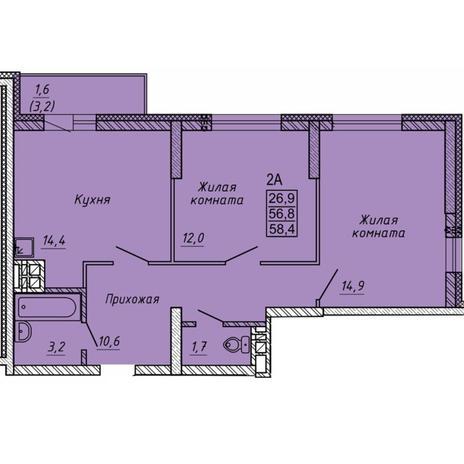 Вариант №5634, 2-комнатная квартира в жилом комплексе