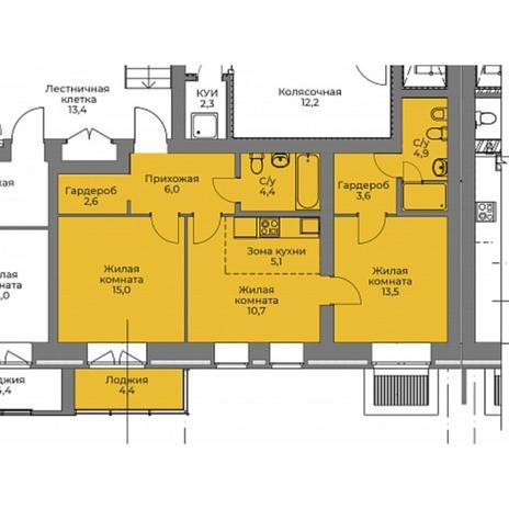 Вариант №4393, 3-комнатная квартира в жилом комплексе Эскимо