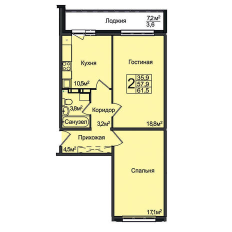 Вариант №3101, 2-комнатная квартира в жилом комплексе