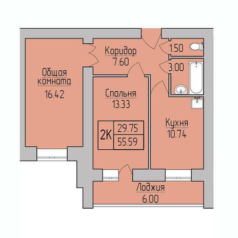 Вариант №3834, 2-комнатная квартира в жилом комплексе Пшеница