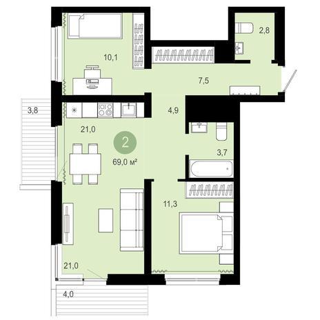 Вариант №4082, 3-комнатная квартира в жилом комплексе Европейский Берег