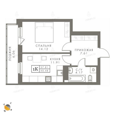 Вариант №2445, 1-комнатная квартира в жилом комплексе
