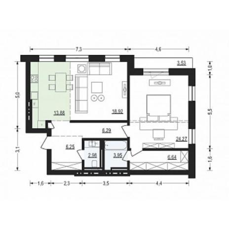 Вариант №4903, 2-комнатная квартира в жилом комплексе Жуковка