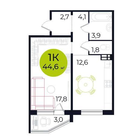 Вариант №5490, 1-комнатная квартира в жилом комплексе Ясный берег