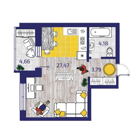 Вариант №3724, 1-комнатная квартира в жилом комплексе