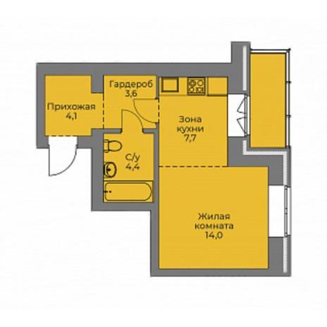 Вариант №4406, 1-комнатная квартира в жилом комплексе Ключевой