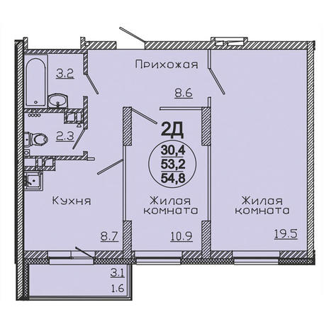Вариант №3064, 2-комнатная квартира в жилом комплексе