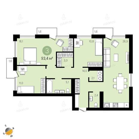 Вариант №2403, 4-комнатная квартира в жилом комплексе Европейский Берег