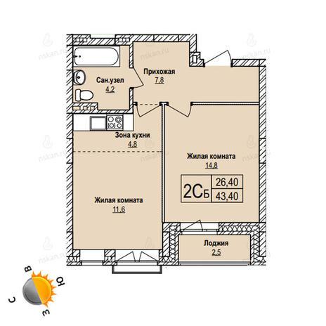 Вариант №1102, 2-комнатная квартира в жилом комплексе