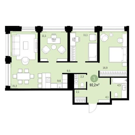 Вариант №6135, 4-комнатная квартира в жилом комплексе