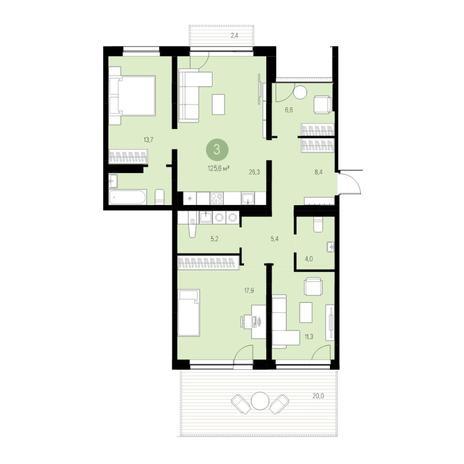 Вариант №4662, 4-комнатная квартира в жилом комплексе Жуковка